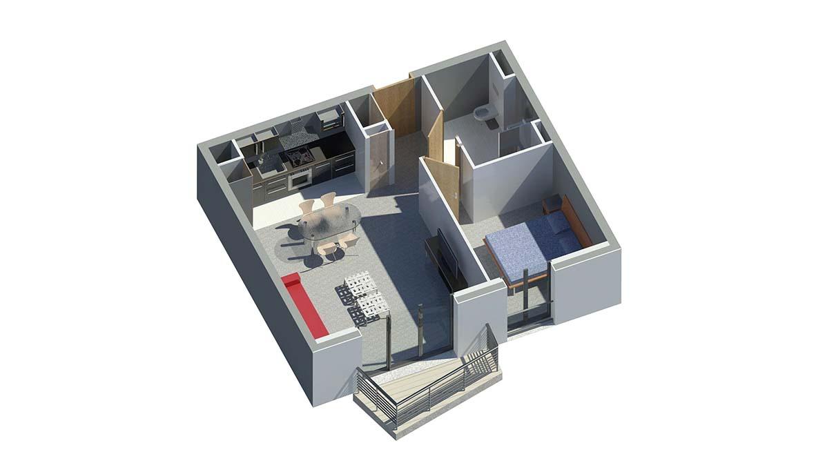 Résidence Ambiance plan apartement avec balcon
