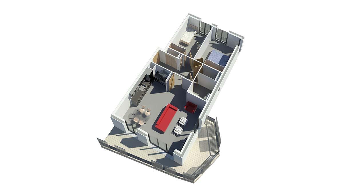 Résidence Ambiance plan apartement avec terrasse