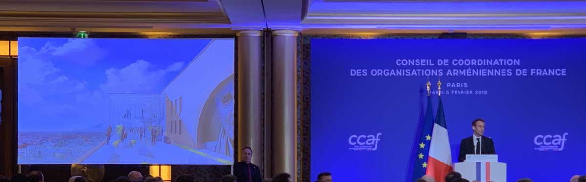 Le Président Emmanuel MACRON donnant un discours lors du dîner du CCAF le 5 février 2019